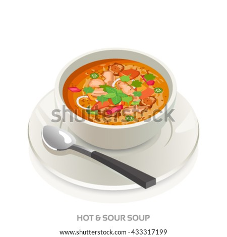 Hot and Sour soup bowl-Asian soup vector
