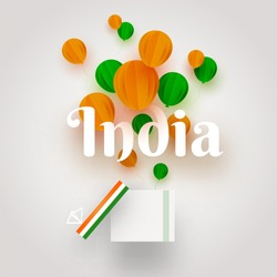 Hot balloons origami in saffron and green color with text India for National Event celebration concept.