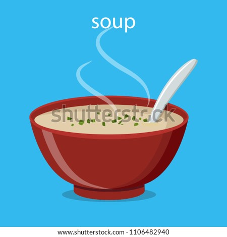 Hot bowl of soup, dish isolated icon. Soup with vegetables isolated  on white background. Vector illustration