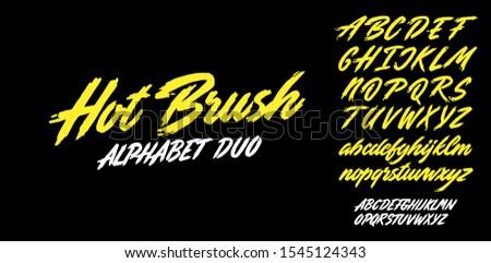 Hot brush alphabet duo. Vector script.