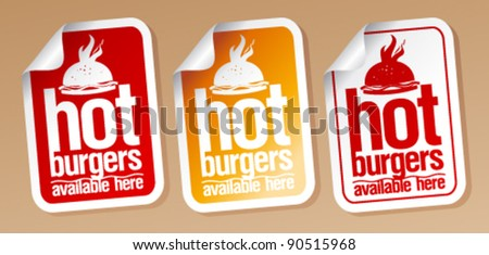 Hot burgers, stickers set.