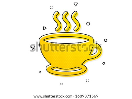 Hot cappuccino sign. Coffee cup icon. Tea drink mug symbol. Yellow circles pattern. Classic coffee cup icon. Geometric elements. Vector