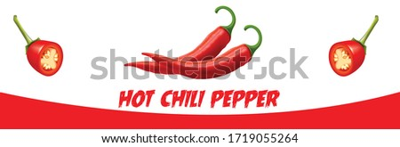 hot chili pepper, Chili pepper isolated on a white background. One chili hot pepper. red hot peppers isolated, Chili  vector icon Flat vector red pepper icon  Stock fotó ©