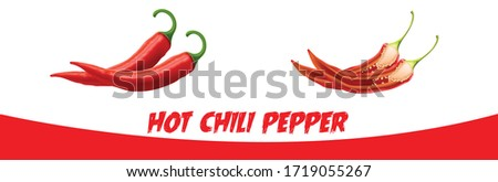 hot chili pepper, Chili pepper isolated on a white background. One chili hot pepper. red hot peppers isolated, Chili  vector icon Flat vector red pepper icon