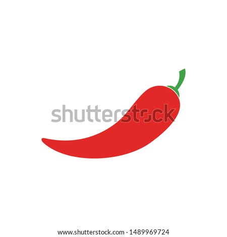 Hot chili pepper vector illustration, isolated on white background. Red hot chili flat design vector.
