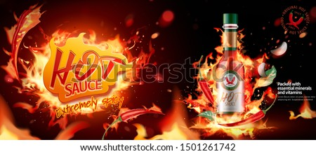 Hot chili sauce ads banner with burning fire effect in 3d illustration