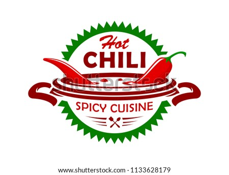 Hot chili spicy cuisine emblem