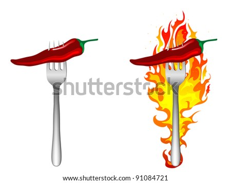 Hot chilli peppers on the fork - stock vector