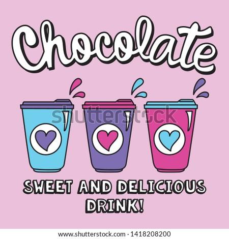 Hot Chocolate Drink. Sweet Drink. Winter Drink. Vector.