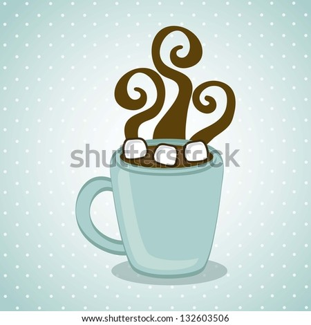 hot chocolate over blue