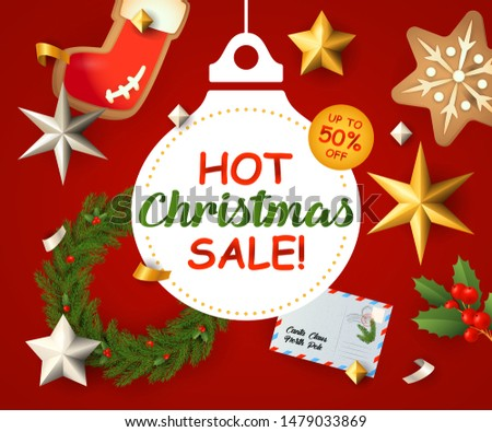 Hot Christmas Sale lettering with Christmas wreath, postcards and ginger bread on red background. Up to fifty percent lettering can be used for posters, leaflets, announcements