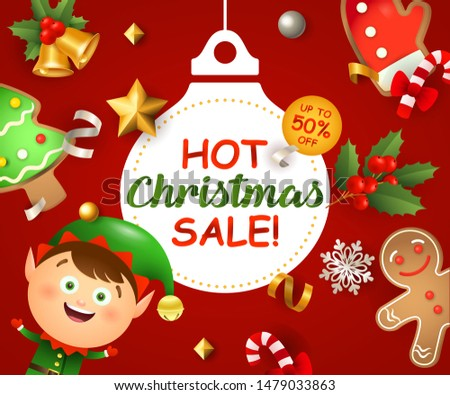 Hot Christmas Sale with Santa boy and ginger bread man on red background. Up to fifty percent lettering can be used for posters, leaflets, announcements