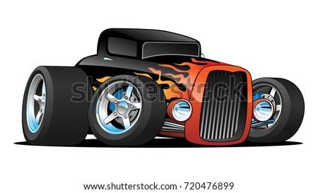 Hot Classic Custom Car Cartoon Vector Illustration