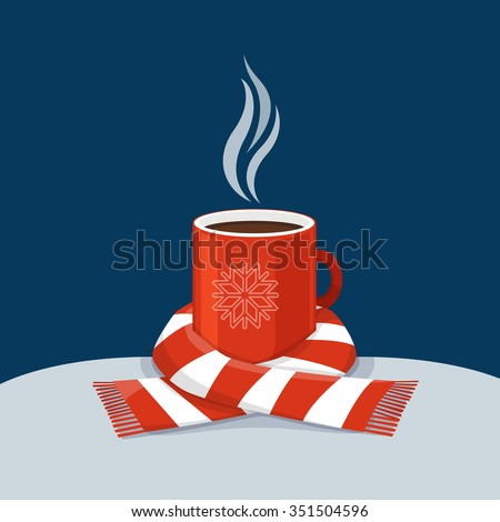 hot coffee in red cup cup of
