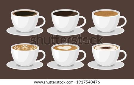 Hot coffee menu in white cups. Front view. Latte, cappuccino, americano, espresso, mocha, cocoa. Vector illustration.
