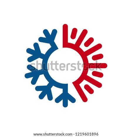 Hot Cold Wave Logo Design Template