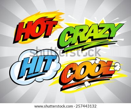 hot  crazy  hit  cool pop art