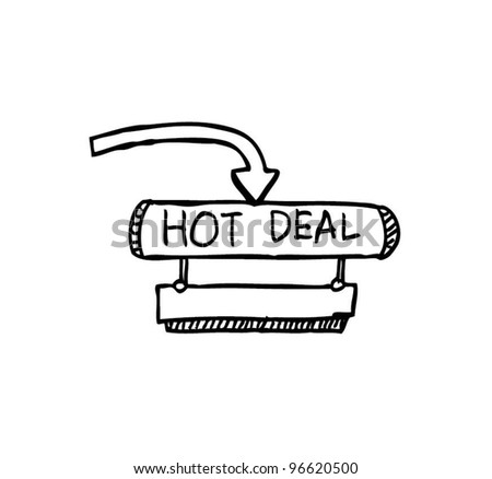 hot deal banner with arrow vector illustration