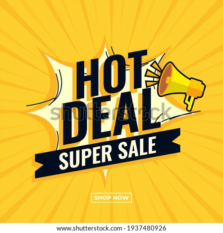 Hot deal super sale abstract comic boom sale banner yellow promotion