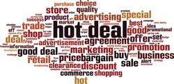 Hot deal word cloud concept. Collage made of words about hot deal. Vector illustration