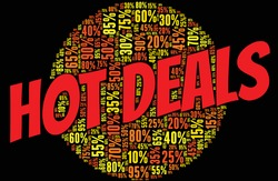 Hot deals - discount with percentage word cloud over black background.