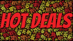 Hot deals discount word cloud on a black background.