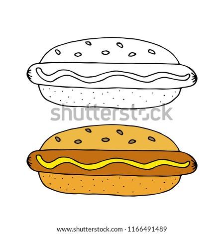 cc7ea0e3b640 Hamburger with black bun - Download Free Vector Art