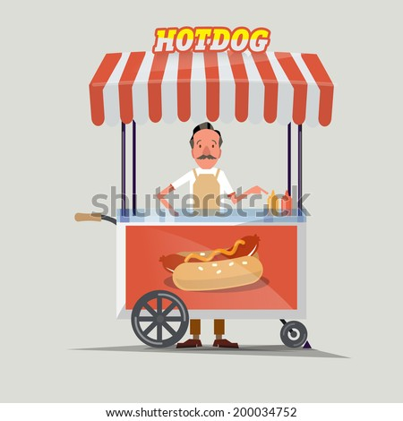 hot dog cart with seller