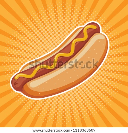 hot dog delicious fast food best choice poster template vector