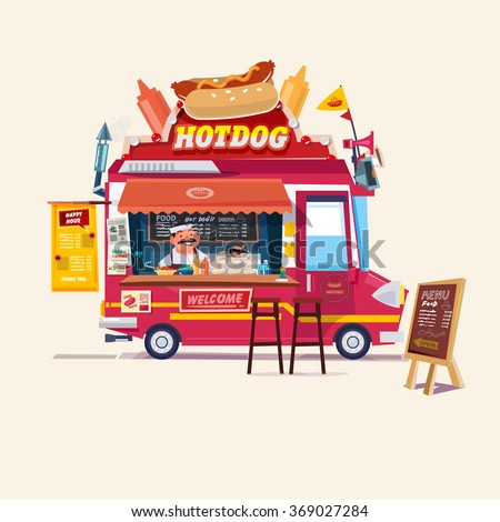 Hot dog  Food Truck. Street Food Truck concept with merchant character design - vector illustration