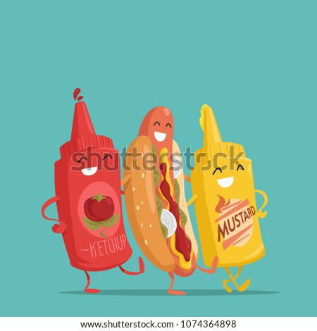 Hot dog, ketchup and mustard. Characters. Vector illustration.
