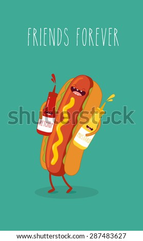 Hot dog, mustard and ketchup.Vector cartoon. Fast food. Friends forever.