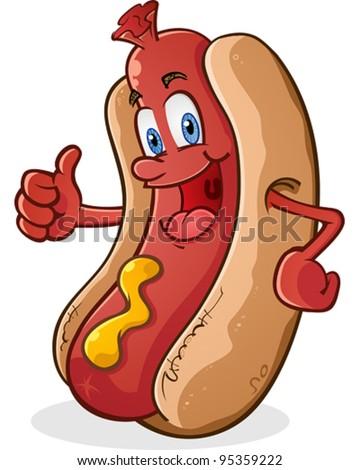 Hot Dog Thumbs Up Cartoon Character