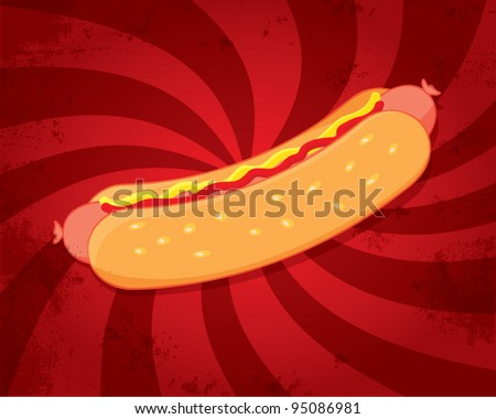 Hot dog with mustard and ketchup on dynamic red background, retro style, vector illustration