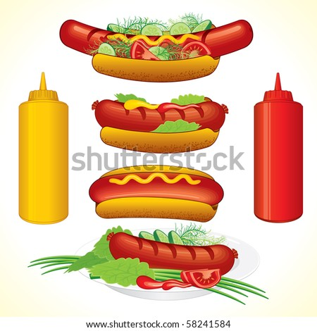 Hot dogs illustrations, detailed vector, all elements separated and grouped