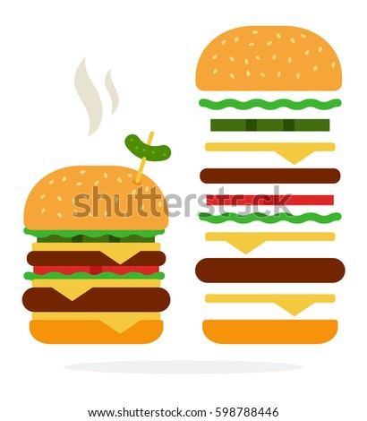 Hot Double burger with cheese and beef and recipe of double burger vector flat material design isolated on white