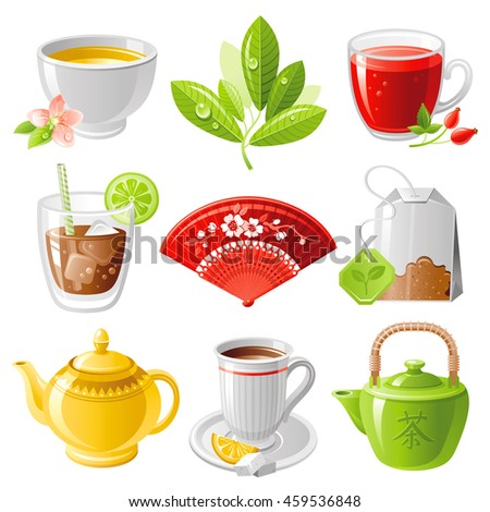 hot drinks icon set with tea