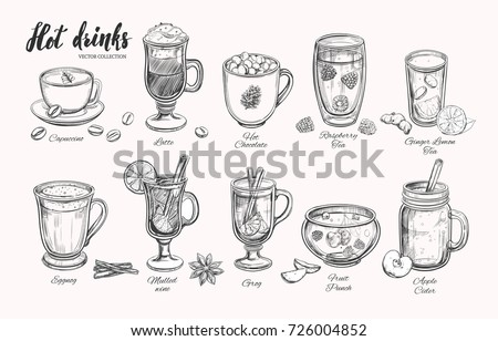 Hot drinks. Vector Christmas Winter collection. Different beverages in sketch style. Coffee, Tea, Mulled wine, Punch, Grog, Cider etc.