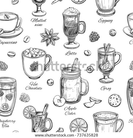 Hot drinks. Vector Christmas Winter Seamless pattern. Different beverages in sketch style. Coffee, Tea, Mulled wine, Punch, Grog, Cider etc.