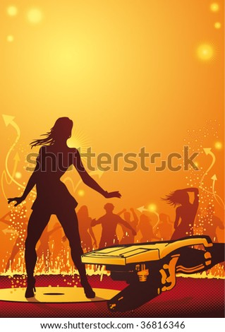 Hot female dancer in a nightclub. vector file, fully editable. - stock vector