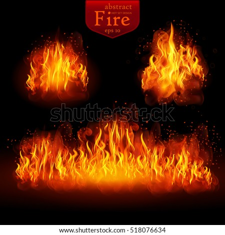 hot fire vector realistic