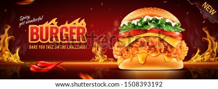 Hot fried chicken burger banner ads with burning fire effect in 3d illustration