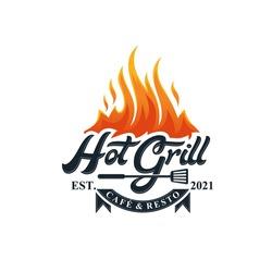 Hot Grill Logo Design Vector Template
