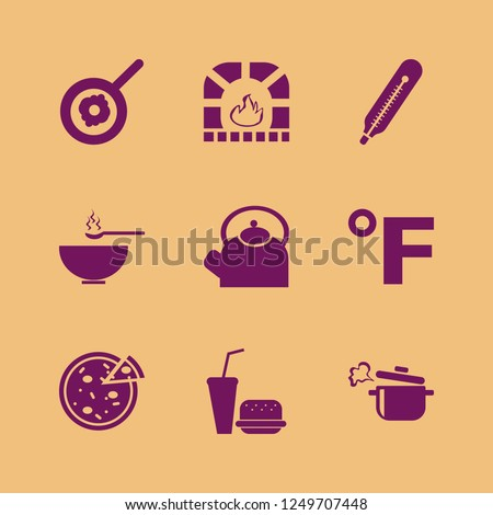 hot icon. hot vector icons set fahrenheit, soup, boiled pan and fast food