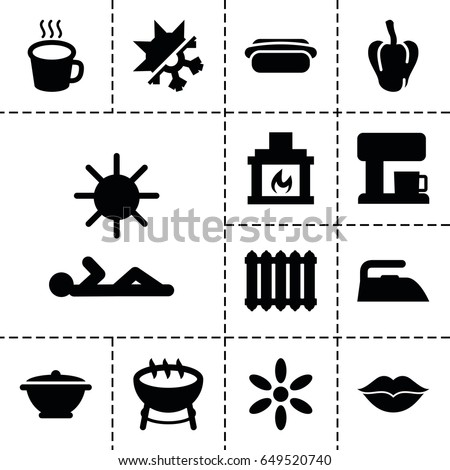 hot icon set of 13 filled hot