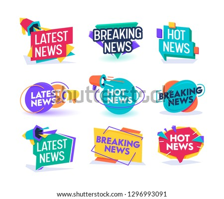 Hot Latest News Daily Update Badge Template Set. Important Breaking Report Label Geometric Design. Online Magazine Typography Message Information Sticker Sign Flat Vector Illustration