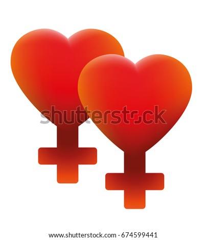 hot lesbian love symbol   two