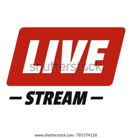 Hot live onair stream icon. Flat illustration of hot live onair stream vector icon for web. Zdjęcia stock ©