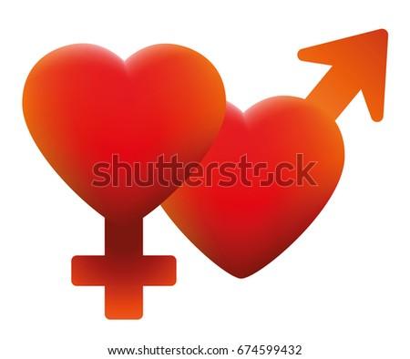 hot love symbol   two hearts