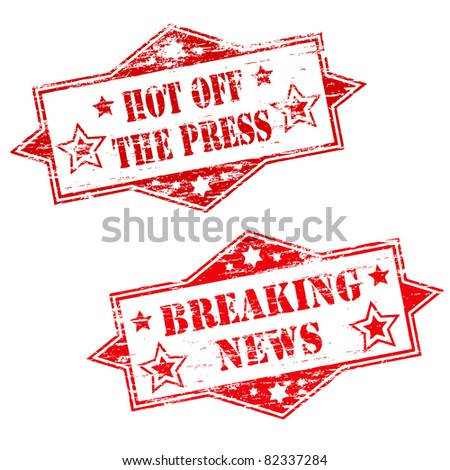 HOT OFF THE PRESS and BREAKING NEWS Rubber Stamp Illustrations